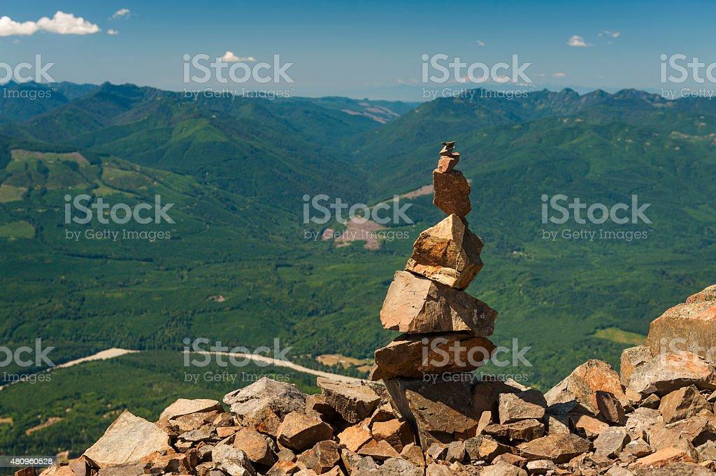 Rock Cairn on Sauk Mountain stock photo