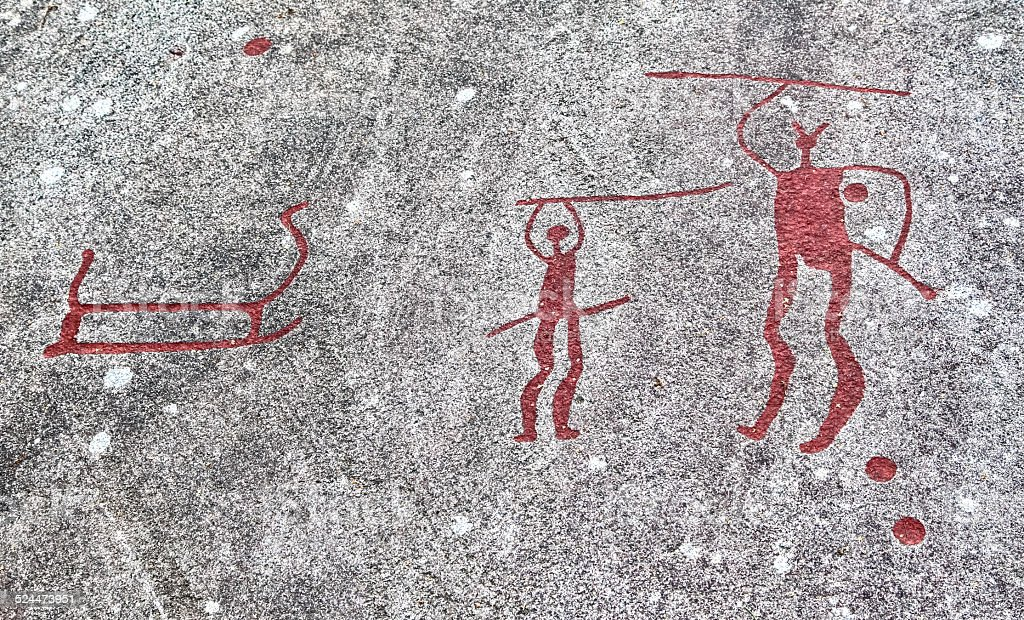 Rock carvings at Vitlycke museum, Sweden stock photo
