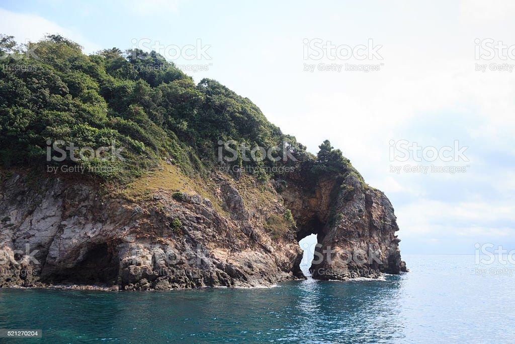 cave рок остров с видом на морской пейзаж Стоковые фото Стоковая фотография