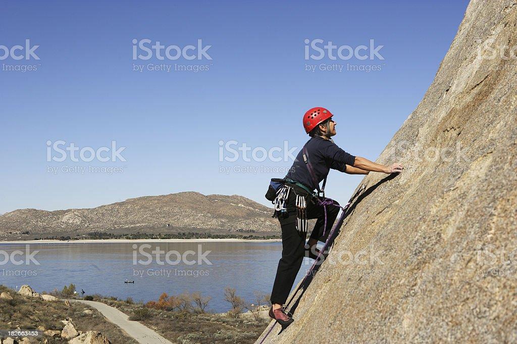 Rock Climber at Lake Perris royalty-free stock photo