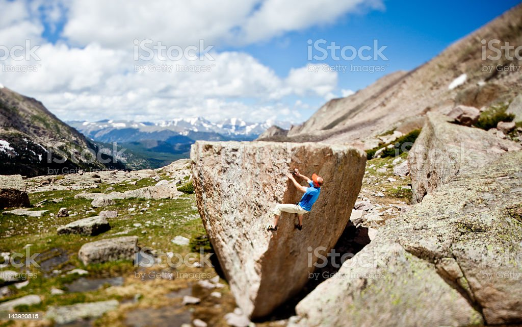 Rock Climber Bouldering in Glacier Gorge, Rocky Mountain National Park royalty-free stock photo