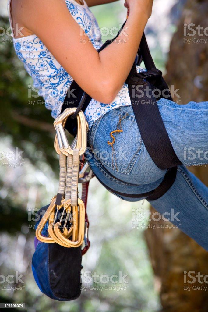 Rock Climber Gear Belt stock photo