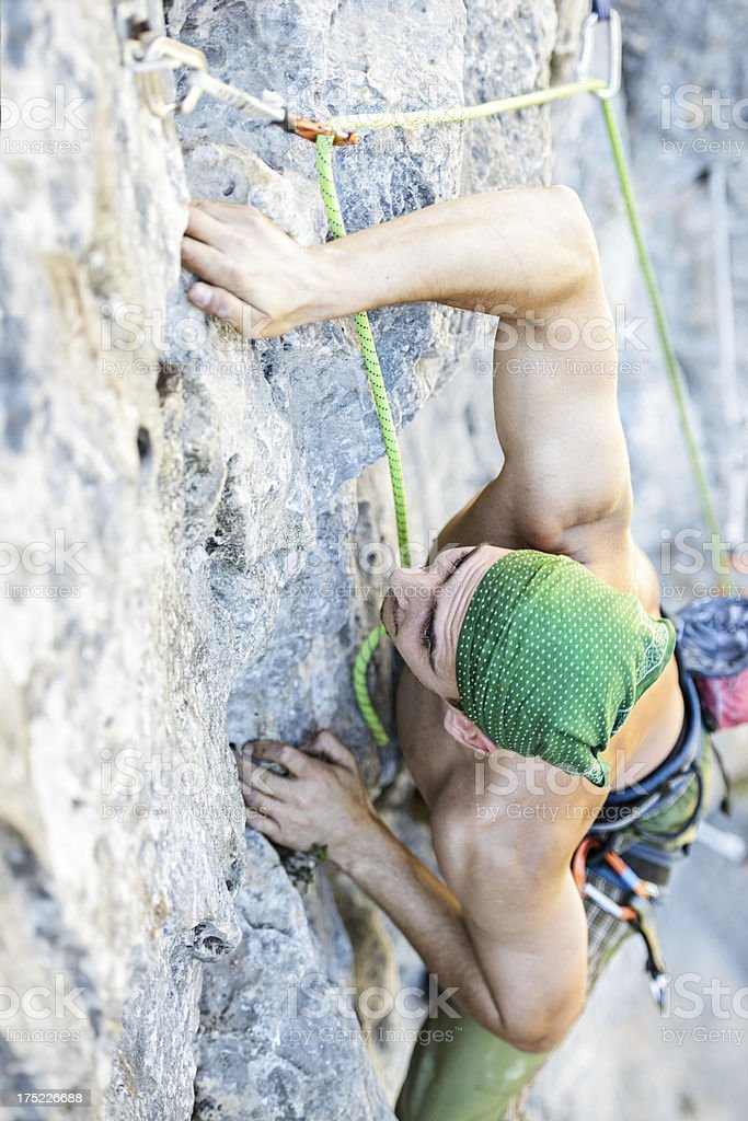 rock climber in action royalty-free stock photo