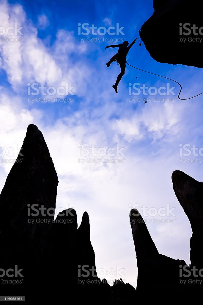 Rock climber in danger. royalty-free stock photo
