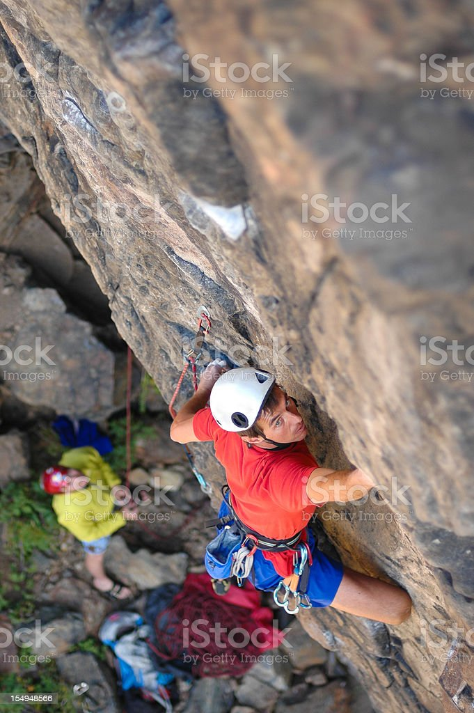 Rock Climber Leads Difficult Climbing Pitch royalty-free stock photo
