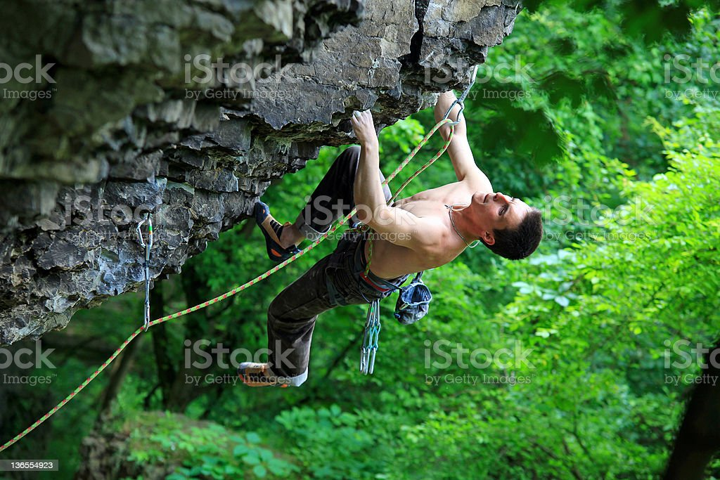 Rock climber on route royalty-free stock photo
