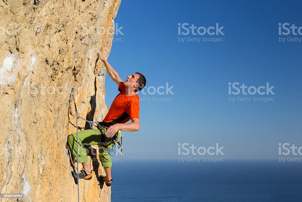 Rock climber. stock photo