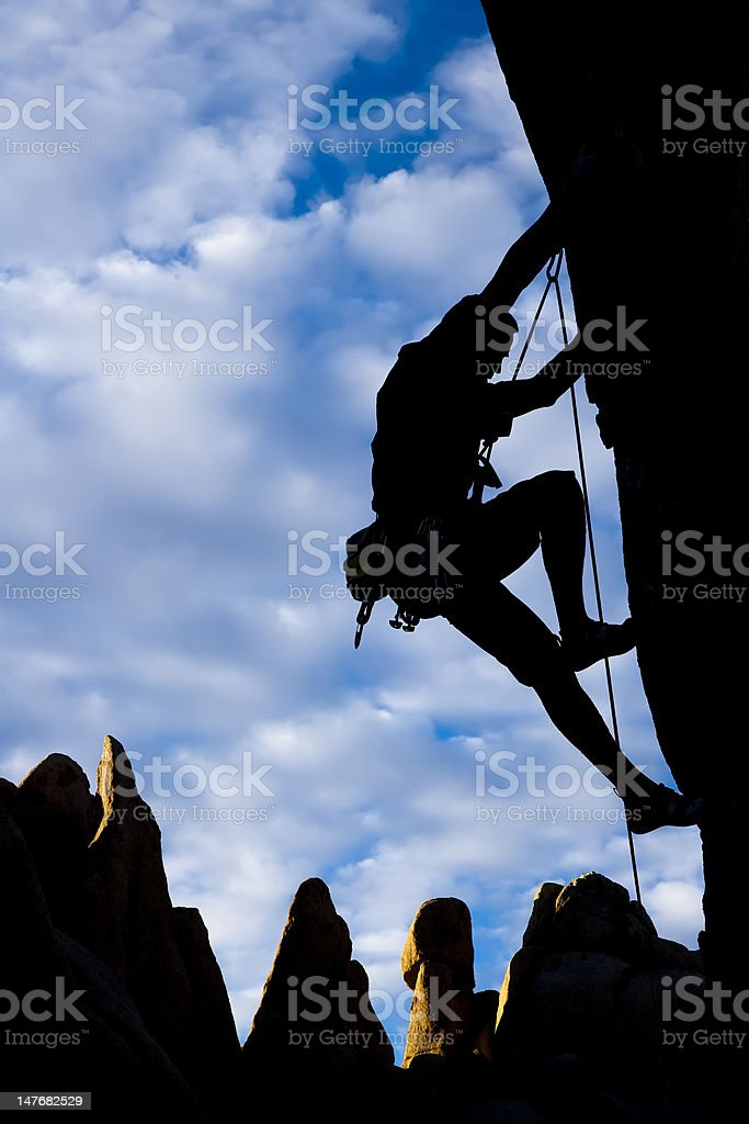 Rock climber silhouetted. royalty-free stock photo
