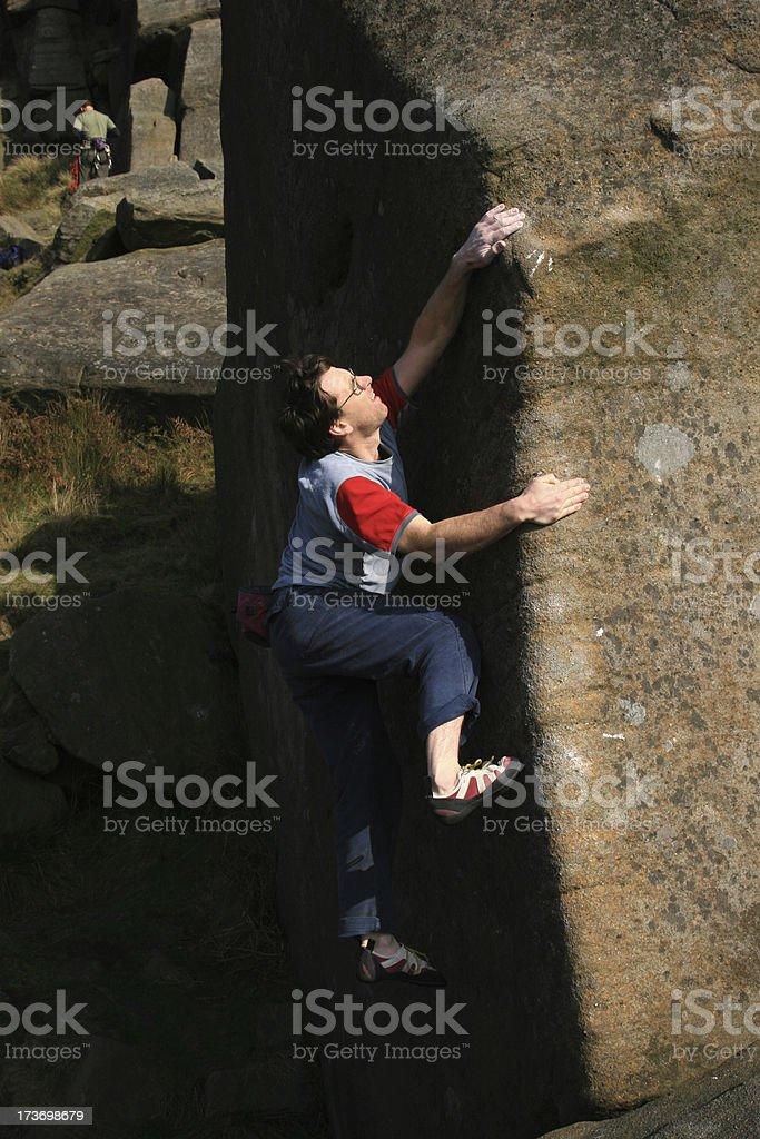 Rock Climber, Stanage Edge, Derbyshire stock photo