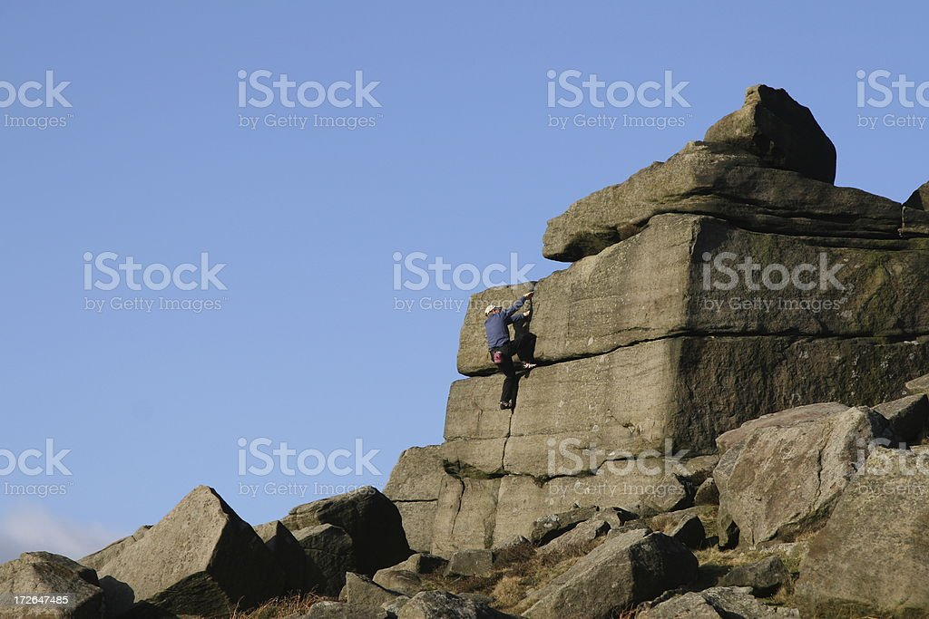 Rock Climber, Stanage Edge, Peak District National Park stock photo