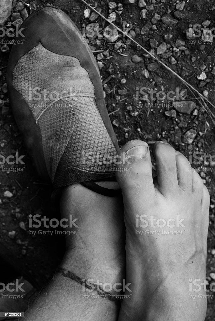 rock climber's feet stock photo