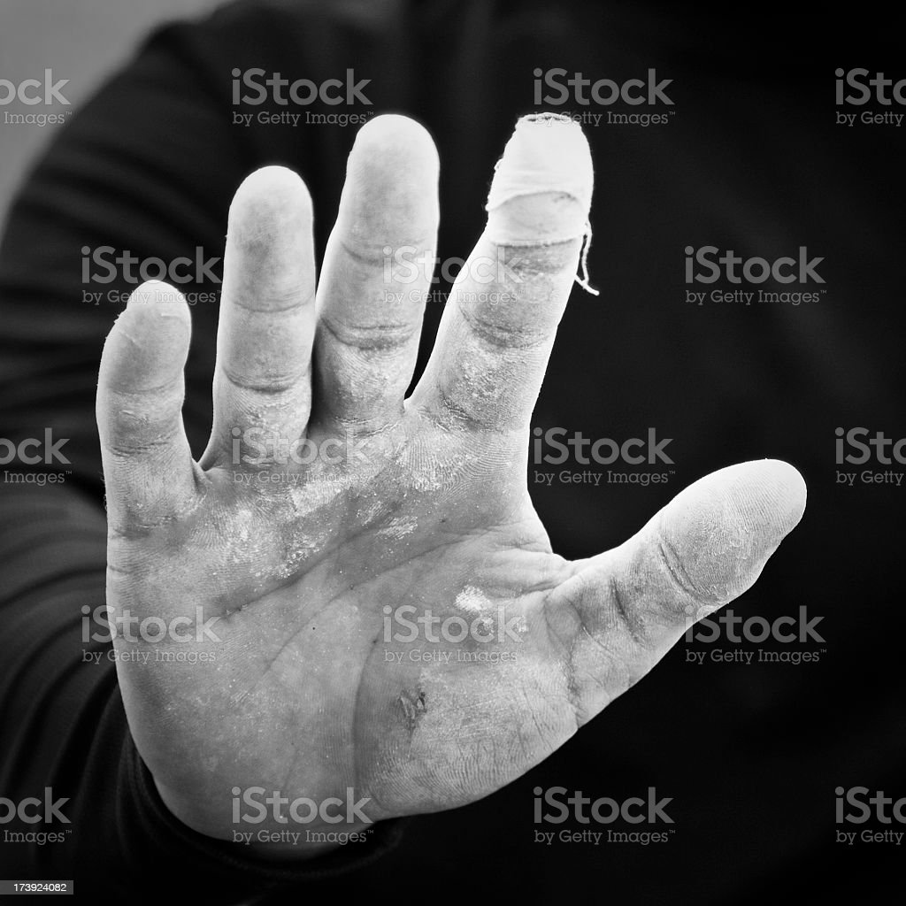 Rock Climber's Hand stock photo