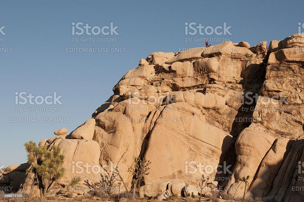 Rock climbers in Joshua Tree National Park royalty-free stock photo