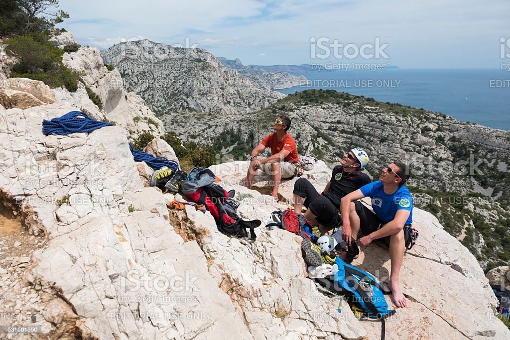 Rock climbers in the Calanques near Marseille, France stock photo