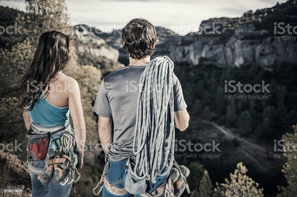 Rock climbers stock photo