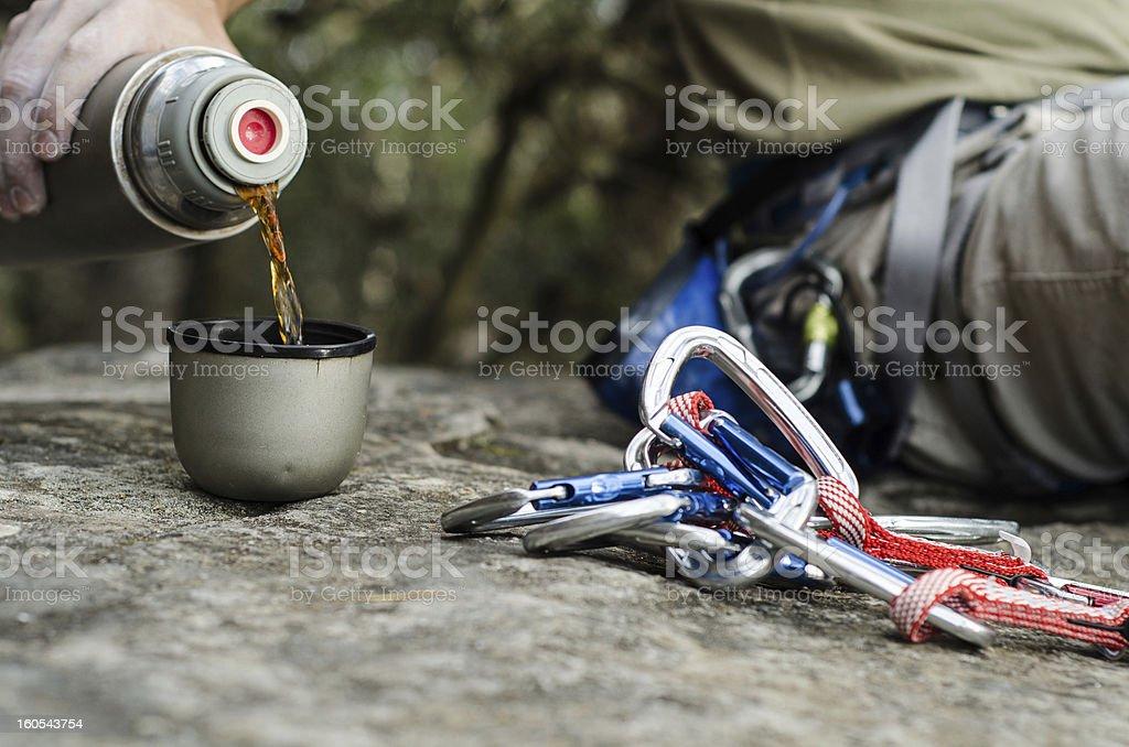 Rock Climbing and Afternoon Tea Outdoors stock photo