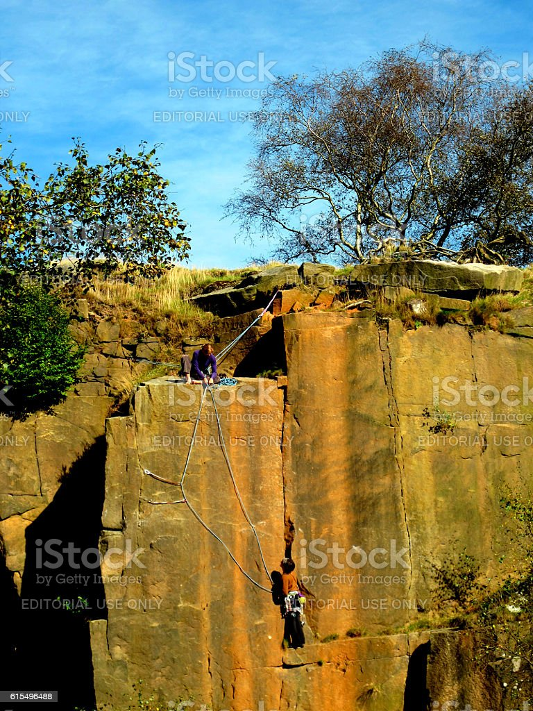 Rock climbing at Bole Hill Quarry. stock photo
