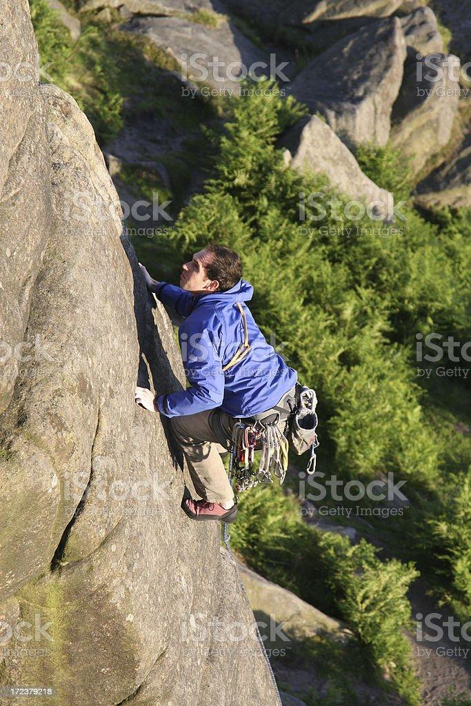 Rock climbing at Stanage Edge, Peak District stock photo