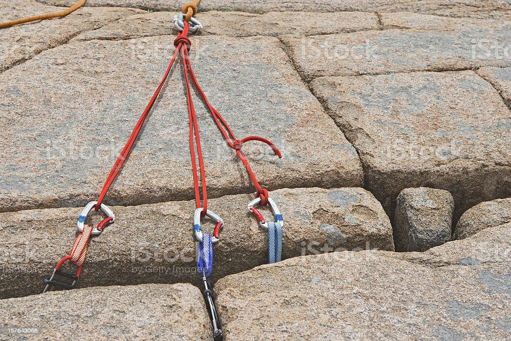 Rock climbing gear stock photo