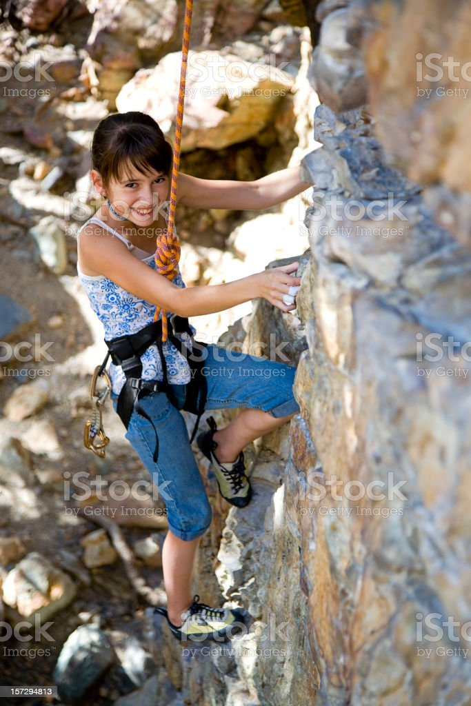 Rock Climbing Girl royalty-free stock photo