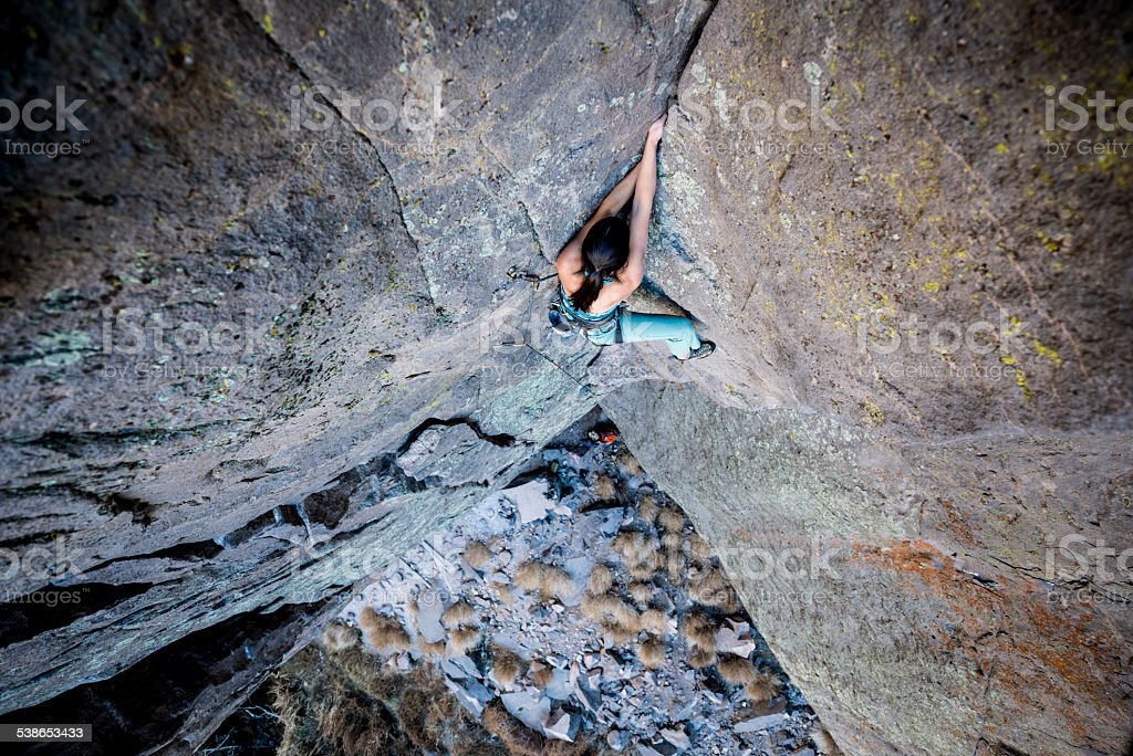 rock climbing girl stock photo
