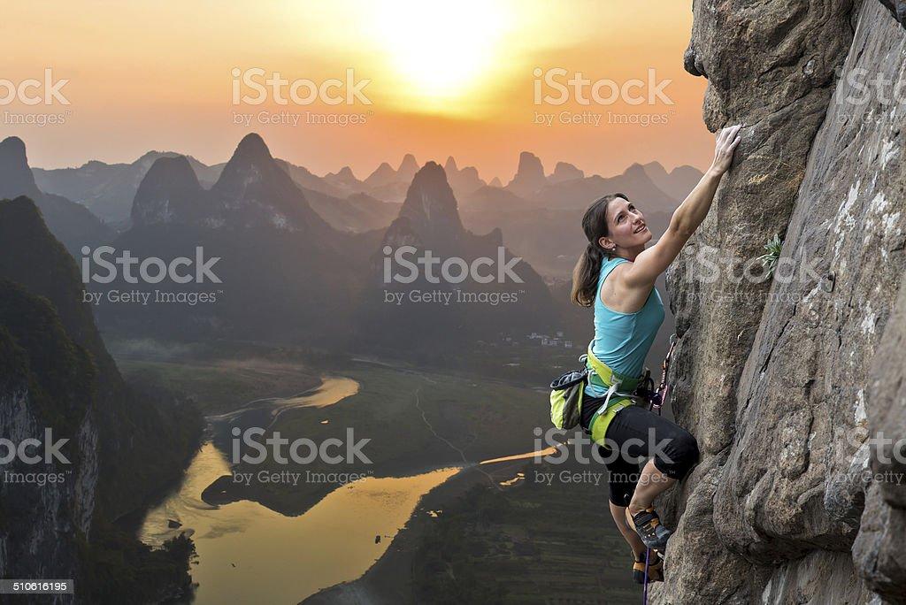 Rock climbing in China stock photo