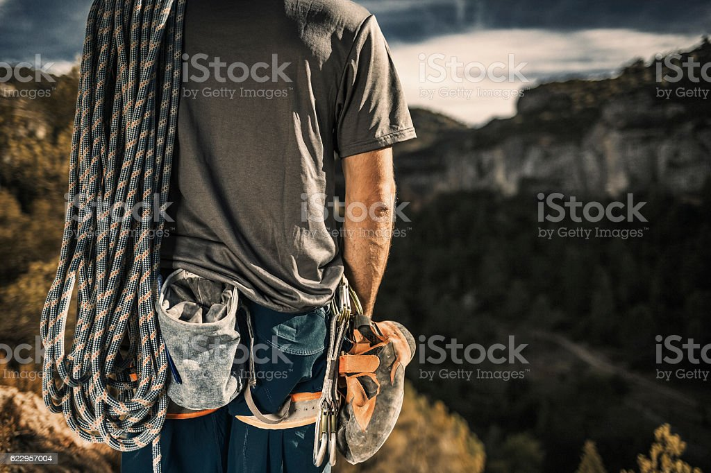 Rock climbing stock photo