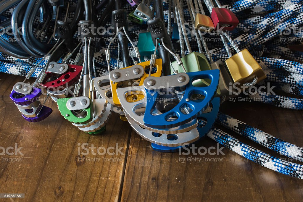 Rock Climbing Protection - Cams, Quickdraws and Nuts stock photo