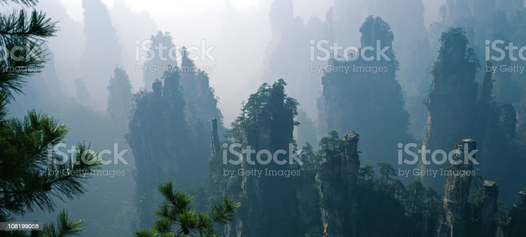Rock column forest stock photo