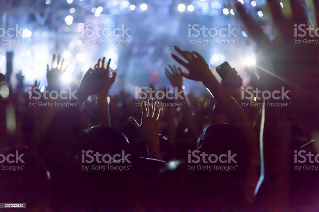 Rock concert crowd stock photo