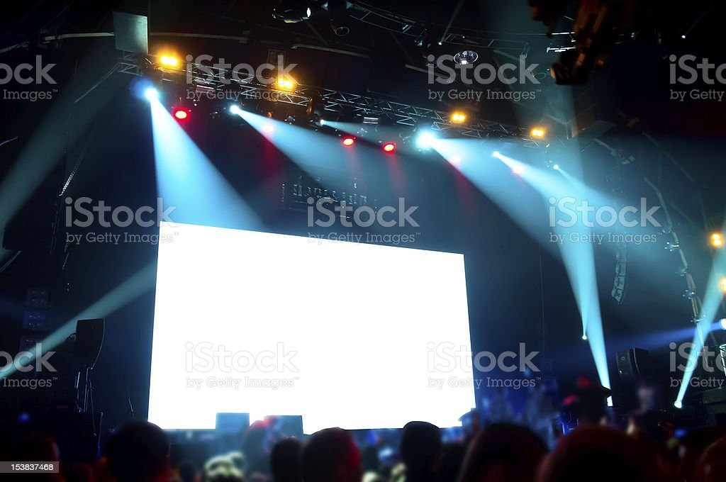 Rock concert, white screen isolated. (clipping path) stock photo