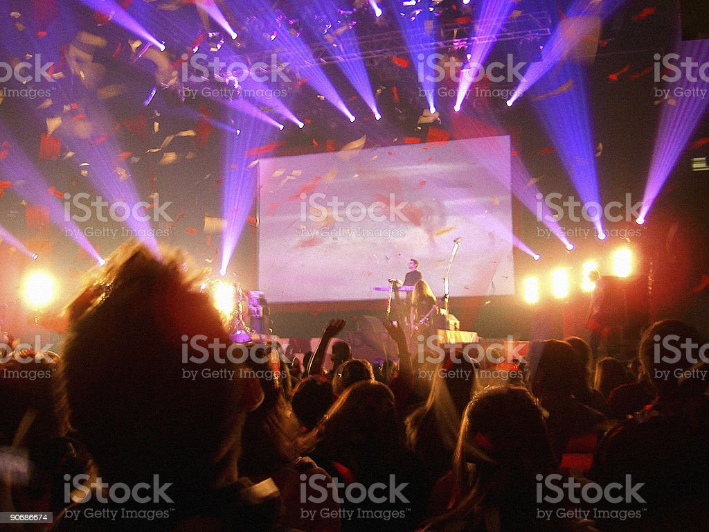 Rock Concert with ticker tape royalty-free stock photo
