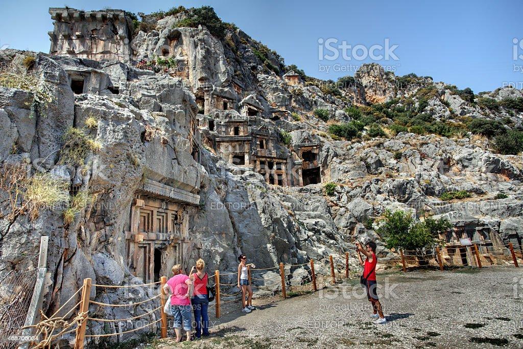 Rock cut tombs of Myra Turkey stock photo