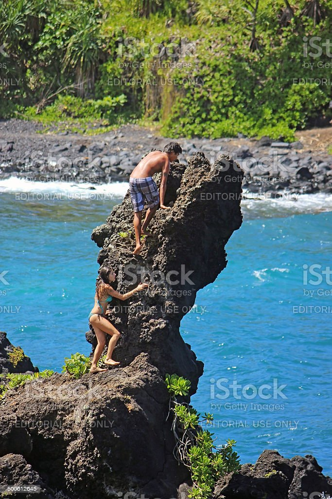Rock Diving in Maui, Hawaii stock photo