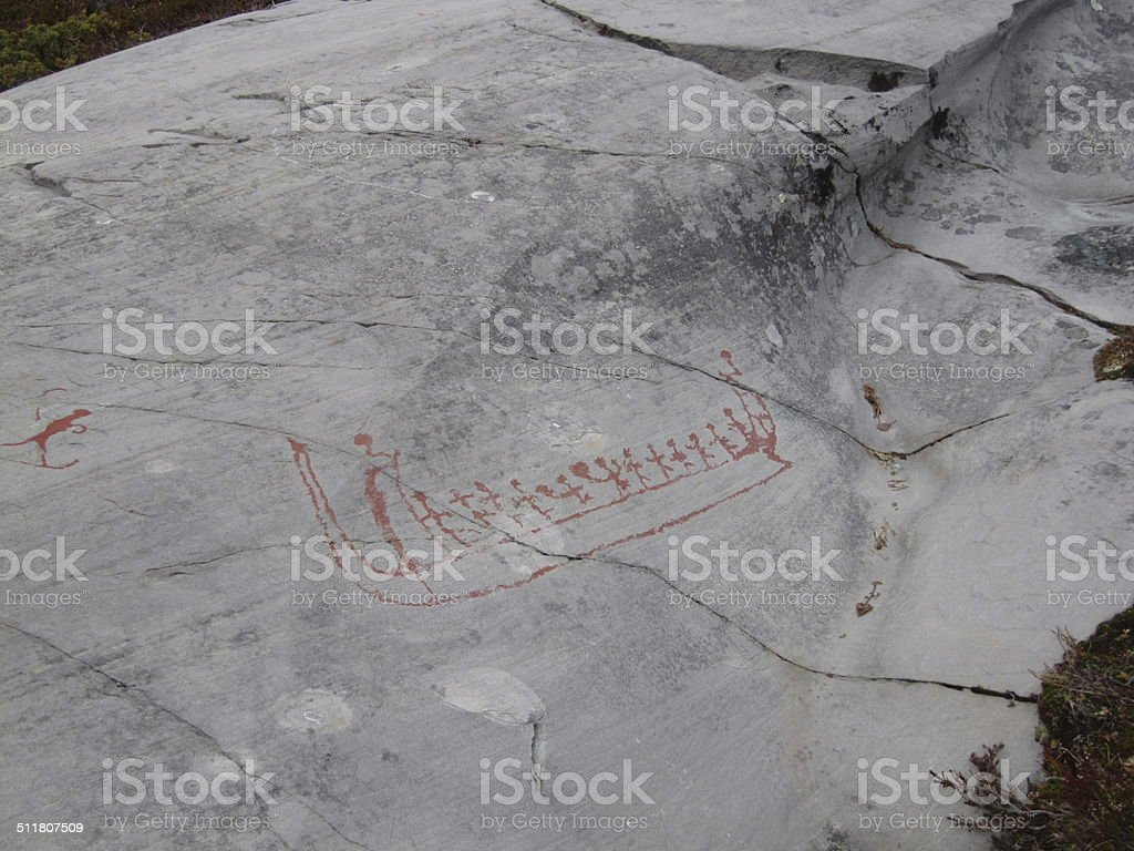 Rock Drawings of Alta in Norway stock photo