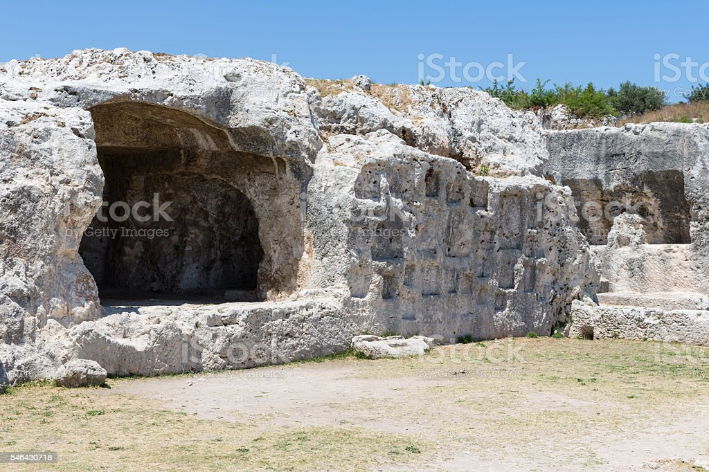 Rock dwellings at Archaeological Park Neapolis at Syracusa, Sicily stock photo