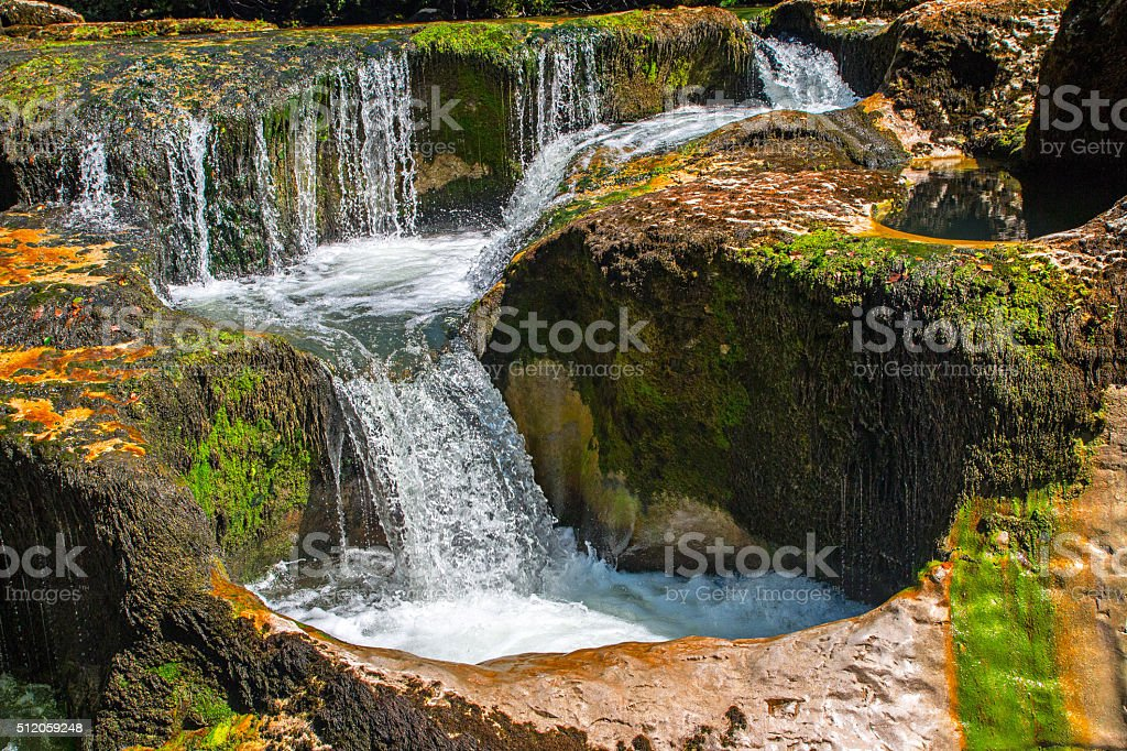 Rock erosion from waterhole waterfall range close-up stock photo