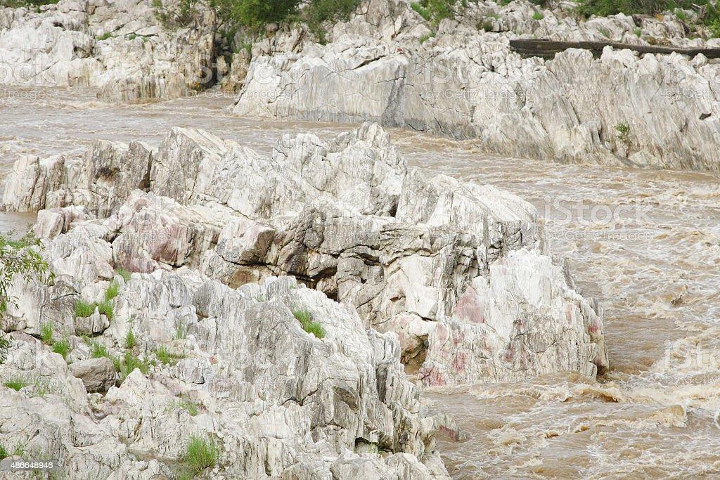 Rock exposure in Narmada river near Dhuandhar fall, Jabalpur stock photo