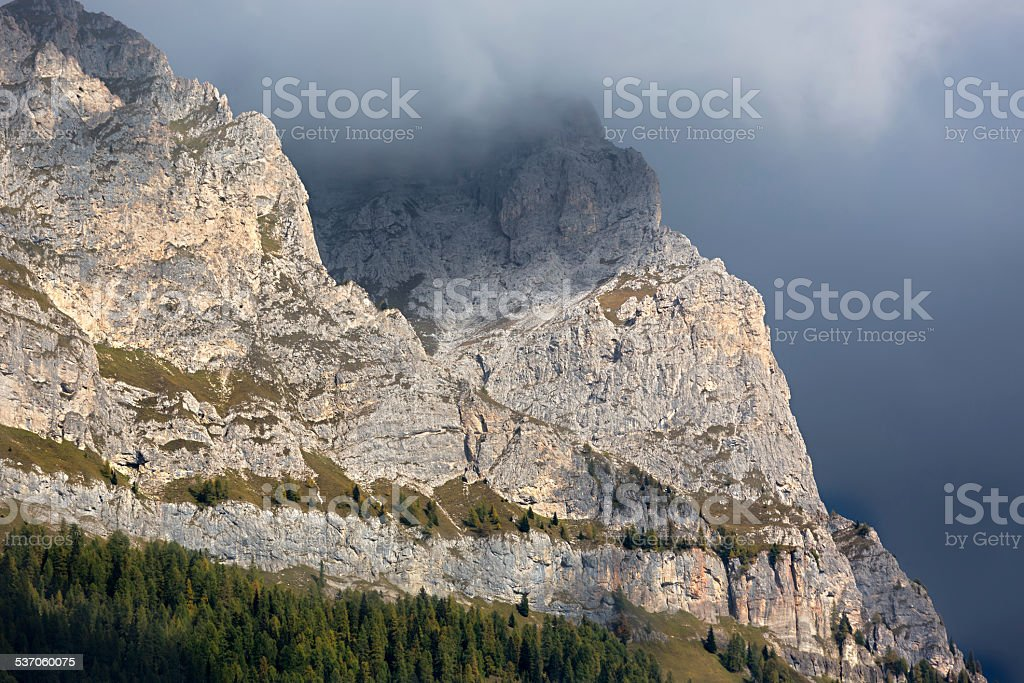 Rock face in Dolomites, Alps, Italy stock photo