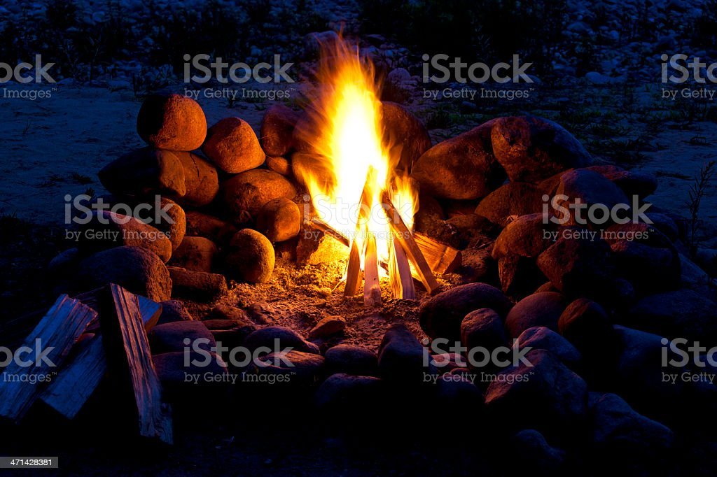 Rock Firepit on Shore stock photo