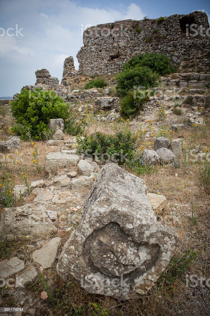 Rock for sacrifices in ruins of Lixus Morocco. stock photo