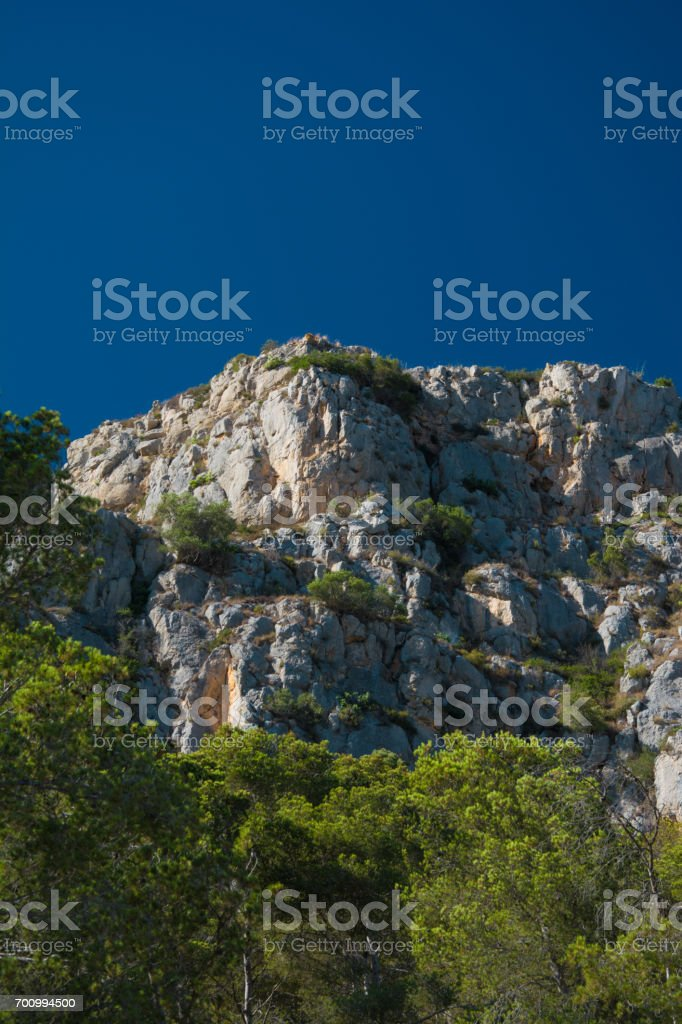 Rock formation and pine trees on the Costa Brava stock photo