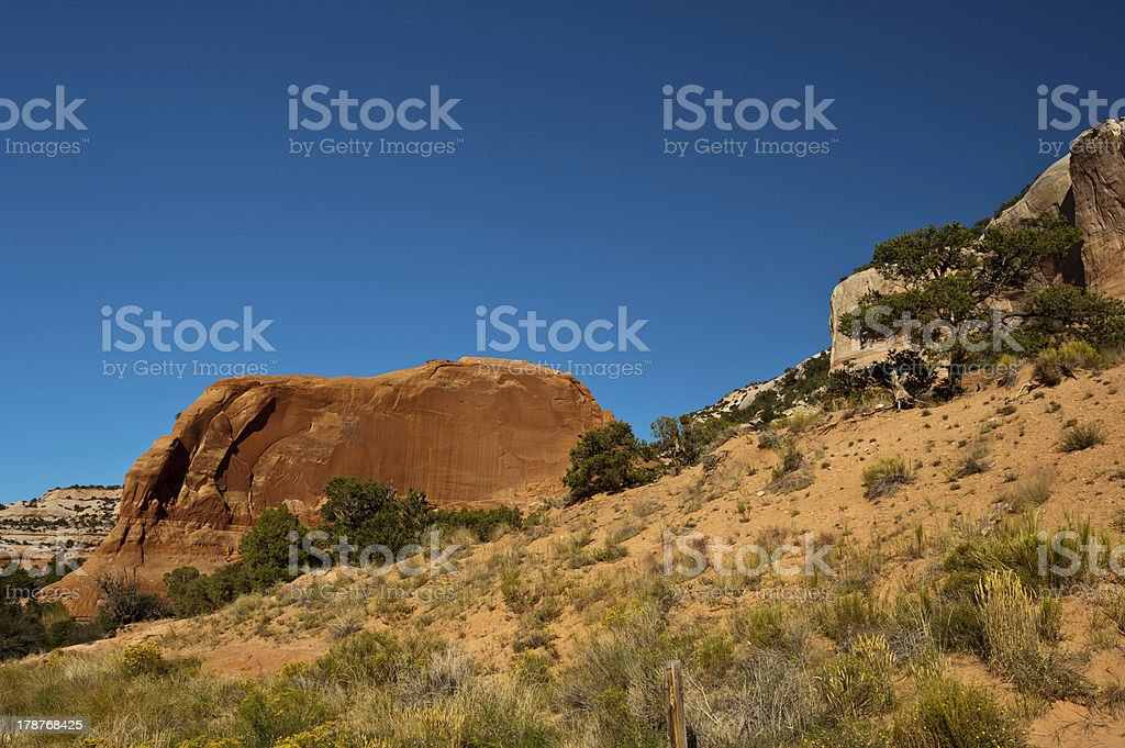 Rock Formation at Wilson Arch stock photo