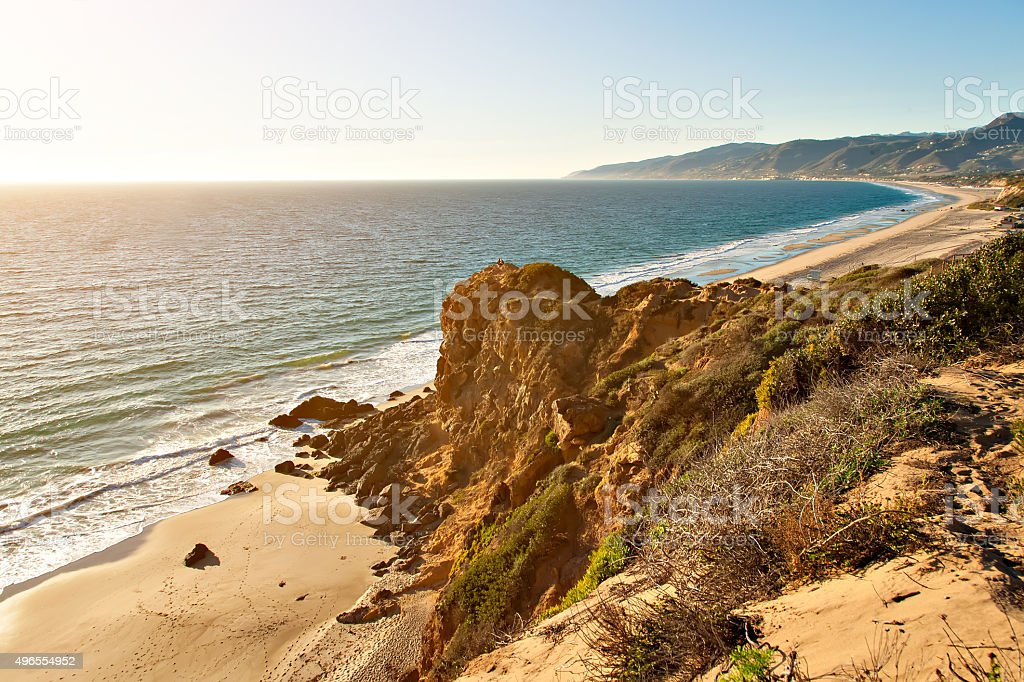Rock formation by ocean on Point Dume Beach Malibu stock photo