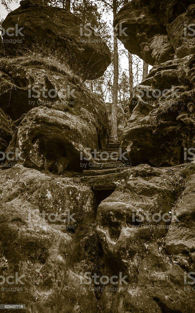 Rock formation in Bohemian Switzerland stock photo