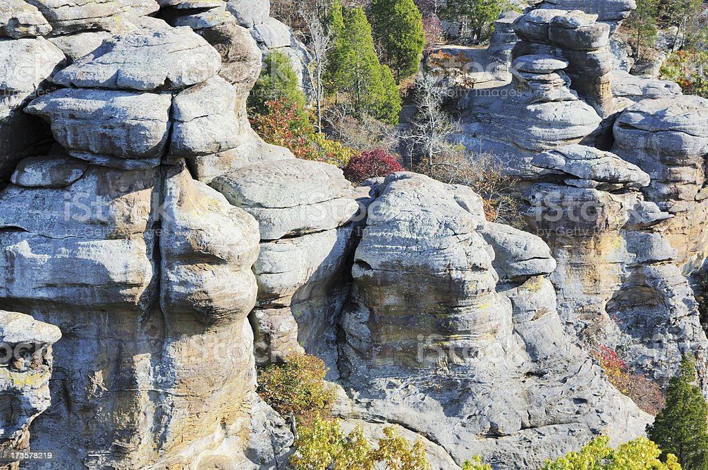 Rock Formation in Garden of the Gods Wilderness Illinois royalty-free stock photo