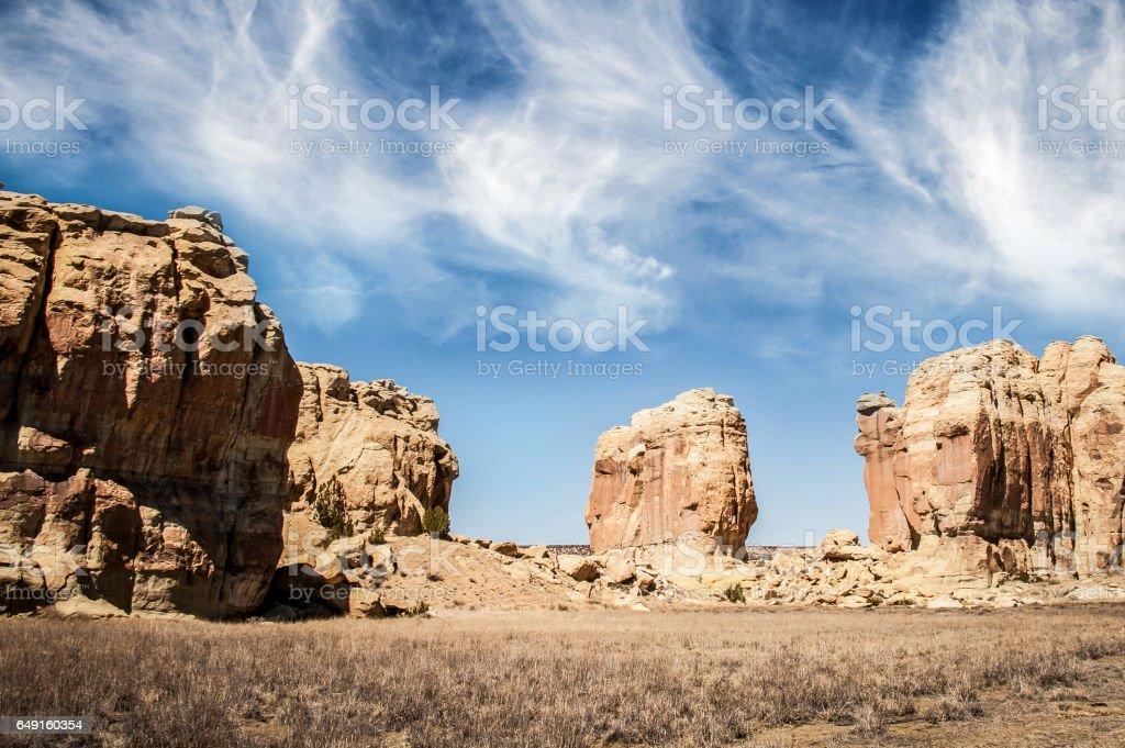 Rock formation near Acoma Pueblo, New Mexico stock photo