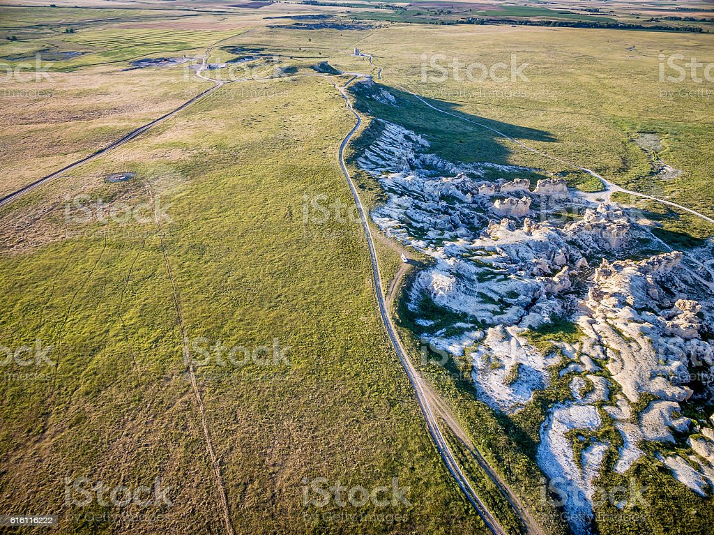 rock formation on Kansas praire stock photo
