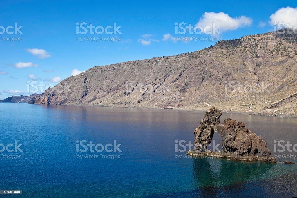 Rock Formation Roque de la Bonanza, El Hierro, Canary Islands stock photo