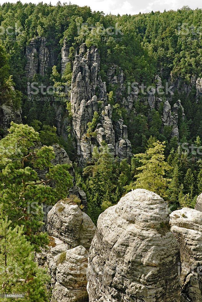Rock formation Saxon Switzerland stock photo